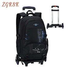 High-capacity Student Backpack Rolling Luggage Children Trolley Suitcases Wheel Cabin Travel Duffle School Bags For Boys все цены