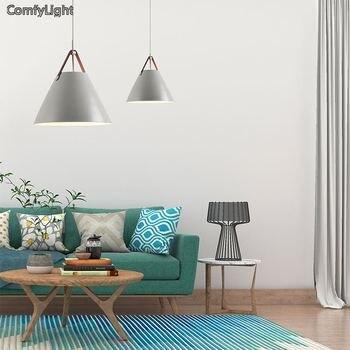 Kolye Işıkları Cilalar Modern Hanglamp Yatak Odası/fuaye/Mutfak/ayna ışık Renkli Demir Lamba Gölge E27 LED Ampul Kemer Armatür