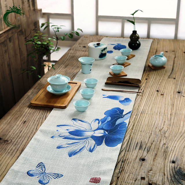 Chinese Hand Painted Table Runner Cloth 30x150cm/Luxury Upscale  Neoclassical Table Runner Wedding Decor Bed
