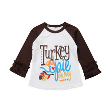 c6e8801c5f835 1-6Y Toddler Kids Baby Girl Thanksgiving Turkey Clothes Ruffles Long Sleeve  Cotton T-shirt Tee Tops Outfits Party Costume
