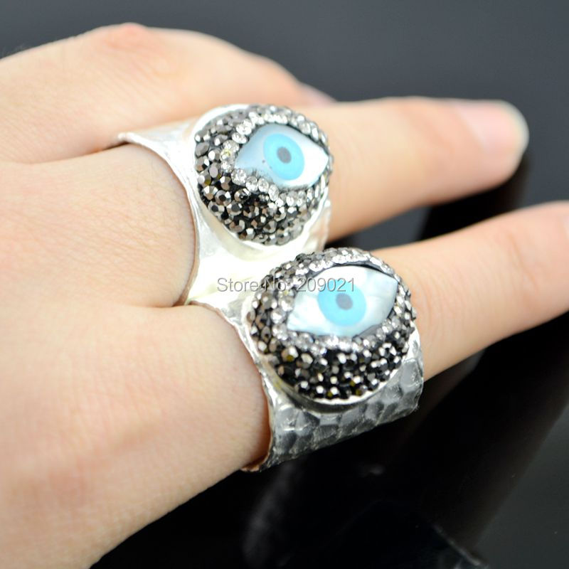 New Charms ~ 5ks Silver Plated Rhinestone Crystal Ring, Shell Eye Ring Jewelry Finding