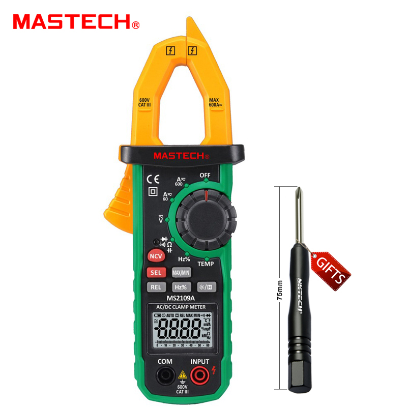 MASTECH MS2109A Auto Ranging Digital AC/DC Clamp Meter Frequency Capacitance Temperature NCV Tester uyigao ua6050a 3 1 2 ac digital clamp meter 1500a with ncv