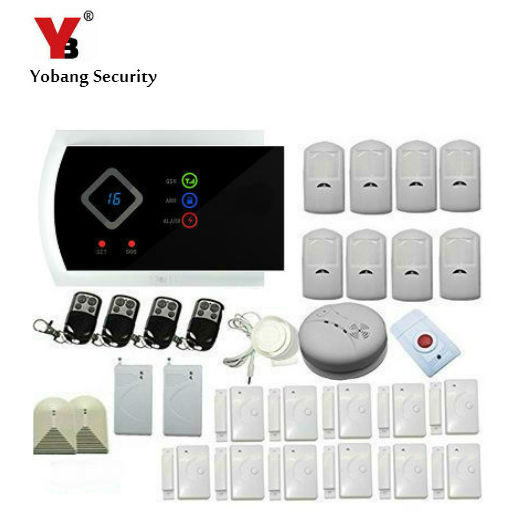YobangSecurity Russian Spanish Italian Slovak Wireless GSM SMS Autodial Smart Home Security Burglar Alarm System Smoke Sensor