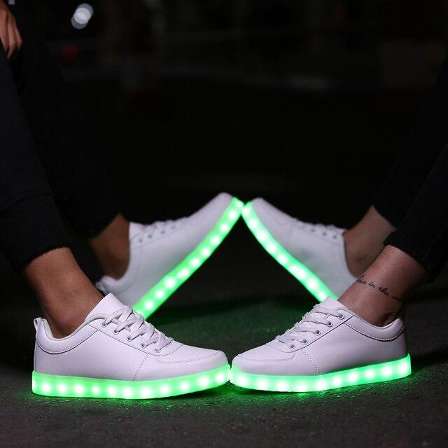 LED Sapatos Mulheres Sapatos Luminosos Sapatos Chaussure de Carregamento USB Luz Lumineuse Casuais Sapatos Cesta Femme