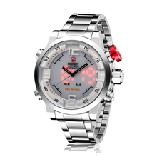 OHSEN White Face Mens Analog Digital Silver Stainless Steel Red LED Backlight Alarm Day Date Wrist