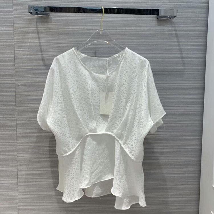 2019 women o neck batwing sleeve silk tops at190155