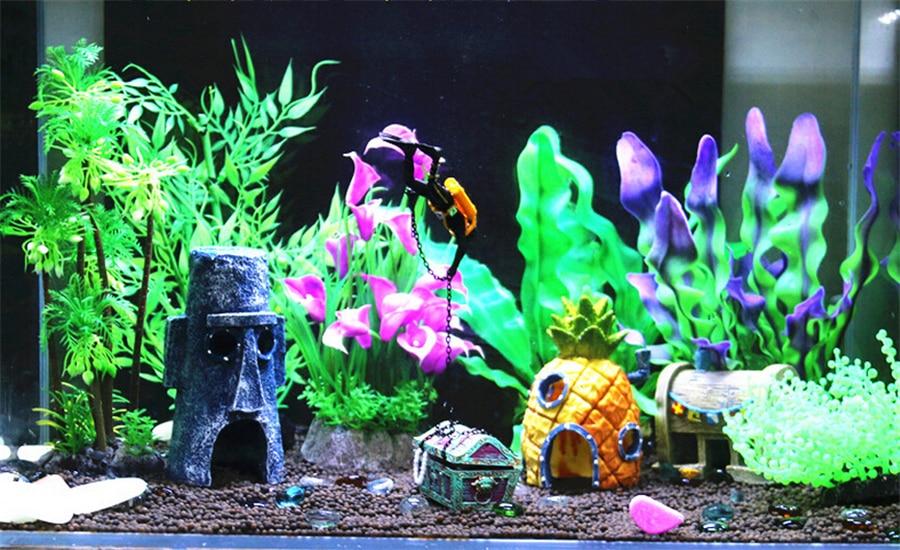 3pc Lot Pineapple House Decoration Spongebob Landscaping Aquarium