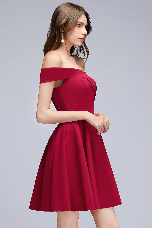 6ec4f8ca6ab ... Babyonline блестящее платье с открытыми плечами бордовый короткие  коктейльные платья 2019 Платья для вечеринок без рукавов ...