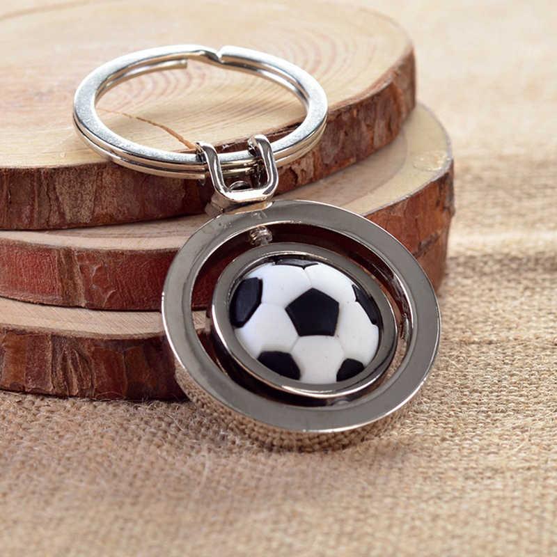 1 pieza 3D estereoscópica deportes giratoria fútbol llavero anillo llave Fob bola regalos llavero para hombre Niño