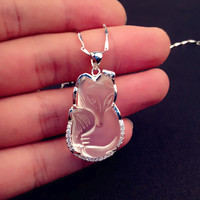 S925 silver jewelry wholesale antique charm fox women's delicate lace natural white crystal pendant