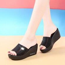 Liren 2019 Summer Fashion Lady Wedges Platform Slippers Open Toe High Heels Stripe Decoration Women Size 35-40