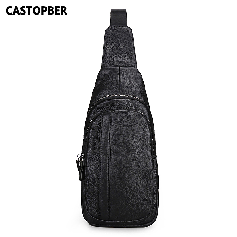 Men Leather Chest Bag Casual Crossbody Bag Men's Clutch Bag High Quality Chest Waist Pack Cowhide Genuine Leather Shoulder Bags