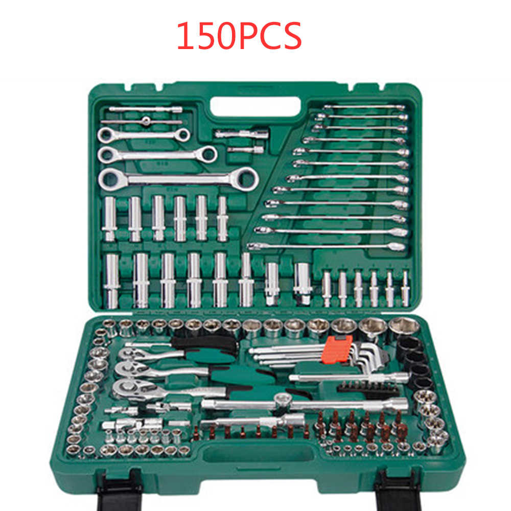 150PCS Auto Repair Tools, 1/4-Inch Car Repair Kit Socket Ratchet Wrench Combination Package Mixed Tool Set