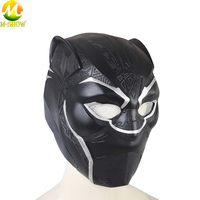 Black Panther Cosplay Helmet Black Printing Black Panther Leather Party Mask Cosplay Accessories For Halloween