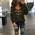 Echoine Front Criss Cross V Neck T-shirt Sexy Autumn Women Hollow Out Lace Up Long Sleeve Loose Tee Tops 3 Colors