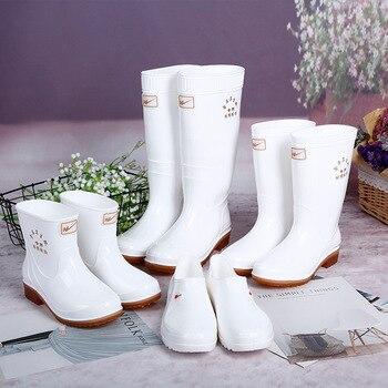 Zapatos antideslizantes de tubo medio alto y bajo para exteriores, botas de higiene alimentaria, zapatos de lluvia y Botas de lluvia de cantina blanca, Botas de lluvia para mujer