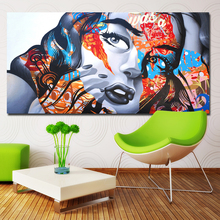 Modern wall art graffiti art colorful girl oil painting Poster Prints Painting on canvas No frame Pictures Decor For Living Room canvas painting wall art pictures prints colorful woman on canvas no frame home decor wall poster decoration for living room