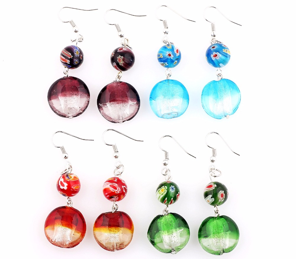 Wholesale Lot 6pairs Flower Style Silver Plated Elegant Classic Beauty Earrings Murano Glass Wedding Engagement Xmas Gift