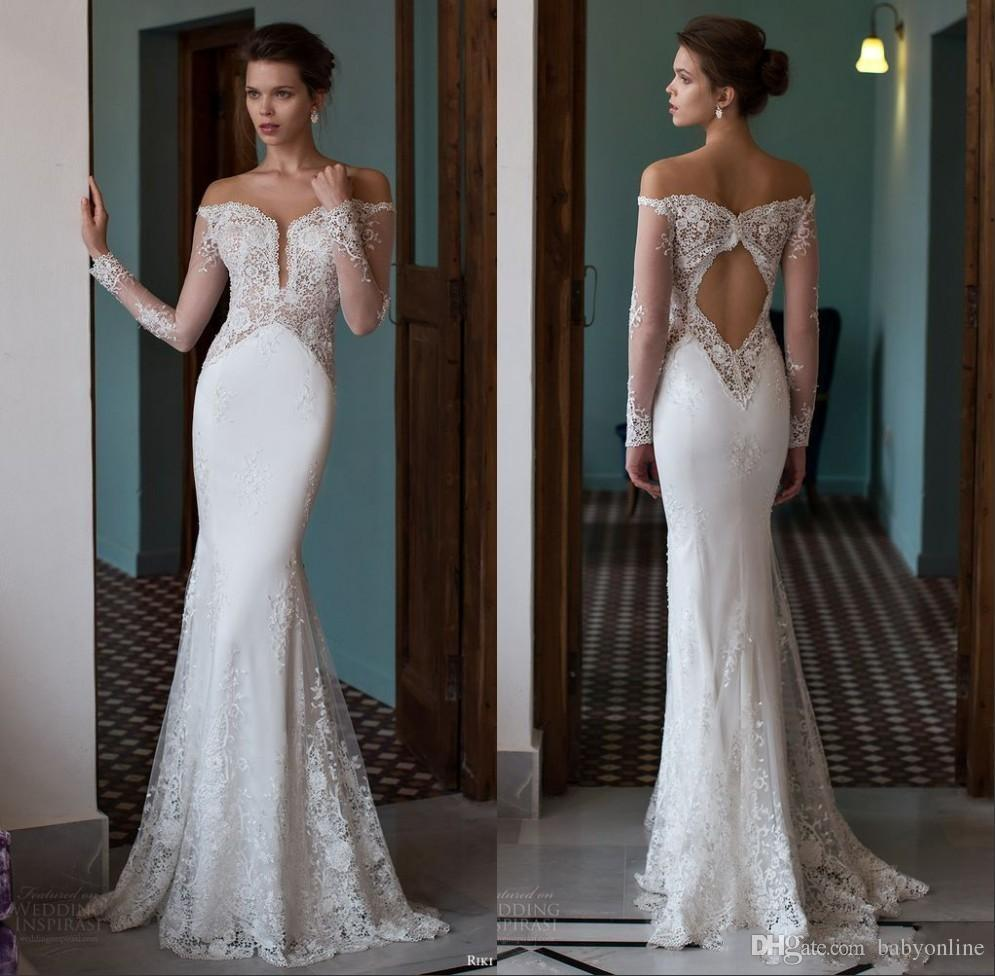 Mermaid Wedding Dresses With Sleeves: 2019 Off The Shoulder Mermaid Wedding Dresses Plunging V