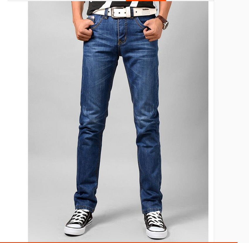 ФОТО men jeans fashion 2017 spring autumn straight style denim jeans pants plus size 38 36 34 33 28 color blue dark blue