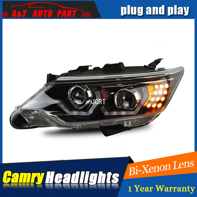 Auto part Style LED Head Lamp for Toyota Camry led headlights 2015 for Camry drl H7 hid Bi-Xenon Lens angel eye low beam headlight for kia k2 rio 2015 including angel eye demon eye drl turn light projector lens hid high low beam assembly