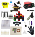 BJT Rotary tattoo gun Full Tattoo Machine Kit Power Supply Ink Grip Needle Nozzle Tips Tube Supplies 6 Bottle inks set