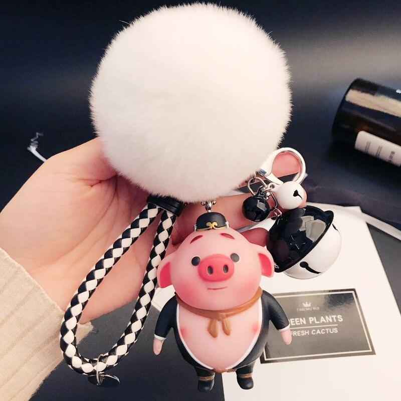 Cute Anime Pig Keychain Fluffy Rabbit Fur Pom Keychains Cartoon Doll Pompons Key Ring Women Bag Chains Pendant Trinkets