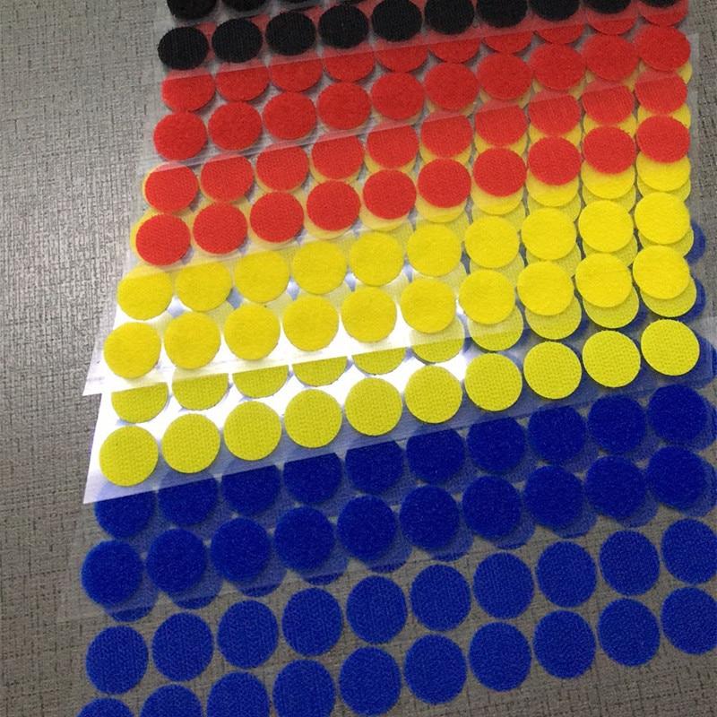 20mm 100 Pairs Meer Kleur Magnetische Nylon Coin Sticker Dubbele Zijdig Gaten Haken Loops Disc Ronde Pads Dot Fastener Kleermakers Diy