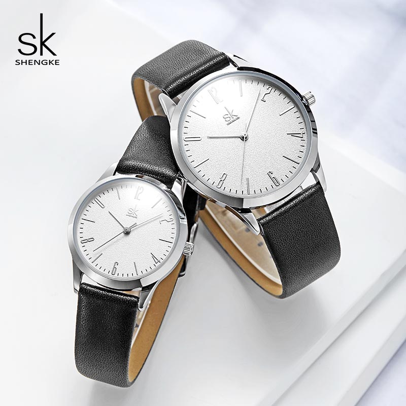 Shengke Couple Watches Fashion Black Leather Women Men Luxury Lovers Quartz Female Male Wrist Quartz Watches 2019 Reloj Mujer