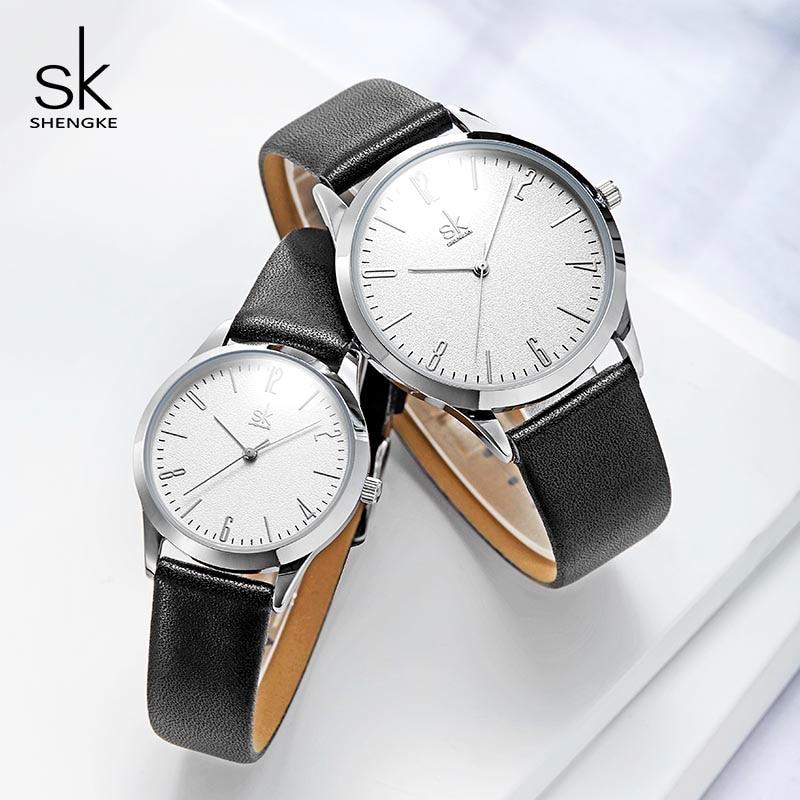 Shengke Couple Watches Fashion Black Leather Women Men Luxury Lovers Quartz Female Male Wrist Quartz Watches 2019 Reloj Mujer
