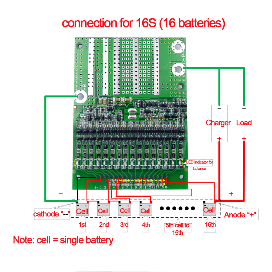 50A BMS 6S to 16S Changeable 4.2V Adjustable Balancing BMS Lithium Li ion 18650 Battery Protection System Board PCM With Balance
