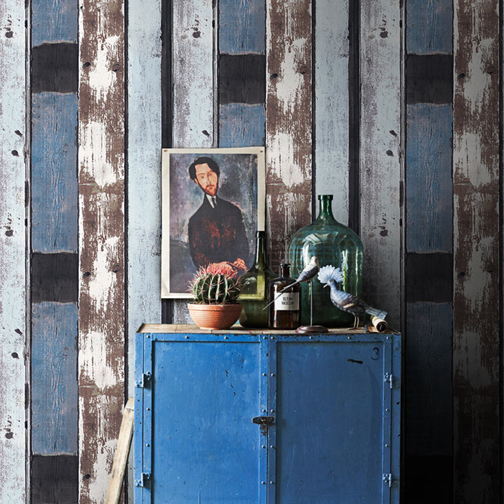 HaokHome Vintage Faux Wood Panel Wallpaper Rolls Blue/Brown/Black 3D Realistic Paper Murals Home Bedroom Living Wall Decoration haokhome modern faux cobblestone wallpaper khaki tan textured realistic pebble rolls living bedroom home wall decoration