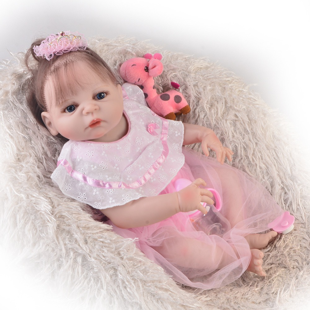 New style 2257cm full silicone reborn baby girl dolls toys for children gift can bathe Bebes reborn menina realista bonecasNew style 2257cm full silicone reborn baby girl dolls toys for children gift can bathe Bebes reborn menina realista bonecas