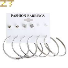 Wholesale 6 pairs/set Hot Fashion Simulated-pearl Crystal Gold Silver Color Big Circle Statement Hoop Earrings for Women Jewelry(China)