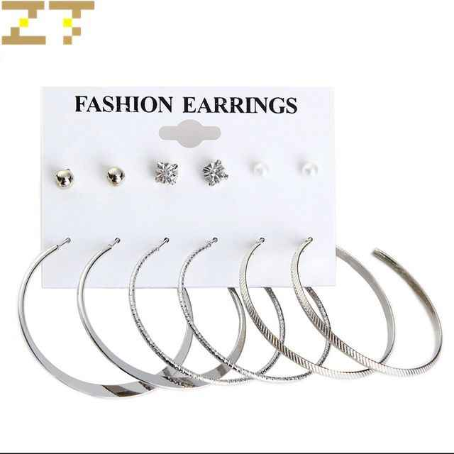Wholesale 6 pairs/set Hot Fashion Simulated-pearl Crystal Gold Silver Color Big Circle Statement Hoop Earrings for Women Jewelry