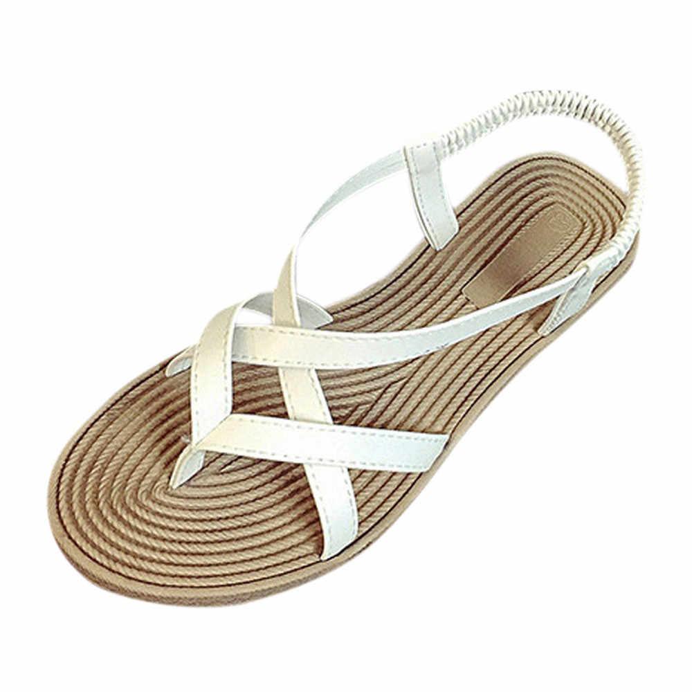 Vrouwen Platte Schoenen Bandage Bohemen Leisure Lady Sandalen Peep-Teen Outdoor Schoenen Sandalen zapatos de mujer 2019 Sapato Feminino 2019