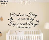 Pazzo Mondo-Leggimi una Storia Per Bambini Quote Wall Art Stickers Adesivo Home FAI DA TE Decorazione Smontabile Room Decor Adesivi murali