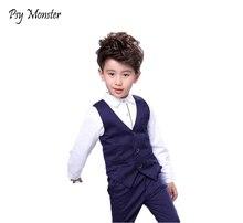 男の赤ちゃん誕生日ドレスフォーマルスーツ服セットシャツチョッキパンツウェディングパーティー紳士権利が確定キッズ子供衣装 F16