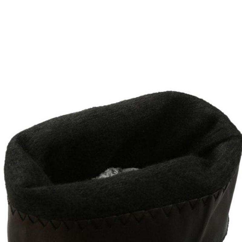 Coolcept Vintage D'hiver Solide 45 Chaudes Noir Mi Boucle Bottes Appartements Taille Bout 34 marron mollet Chaussures Rond Couleur Femmes Plus T1rgqpT