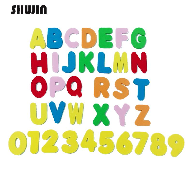 Shujin Early Education Baby Learning ABC Alphabet Letter Cards Foam EVA26 English Letters + 10 Figures Bath Puzzle Literacy