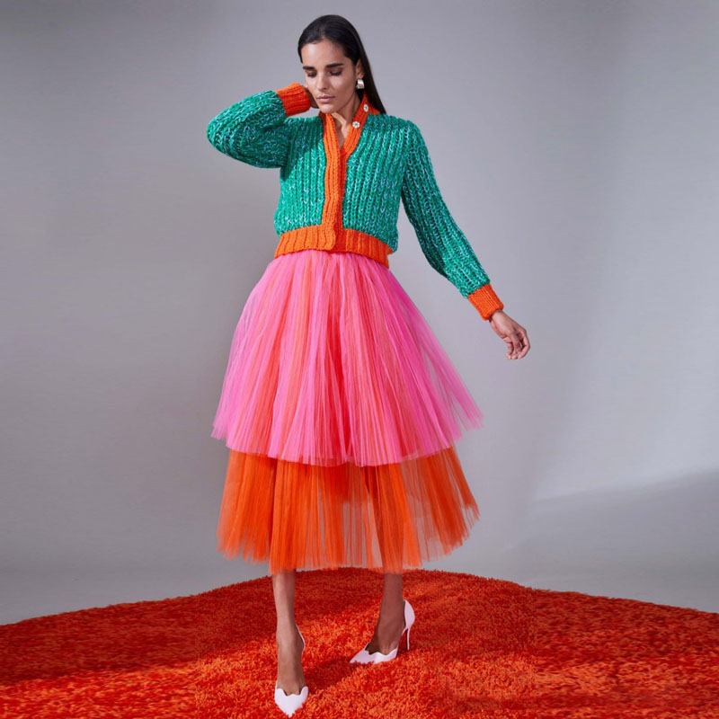 2018 Fashion Mixed Color Tulle Skirt Custom Made Tiered Mid-Calf Women Skirt Eye-Catching Prom Party Skirt Any Colors Available