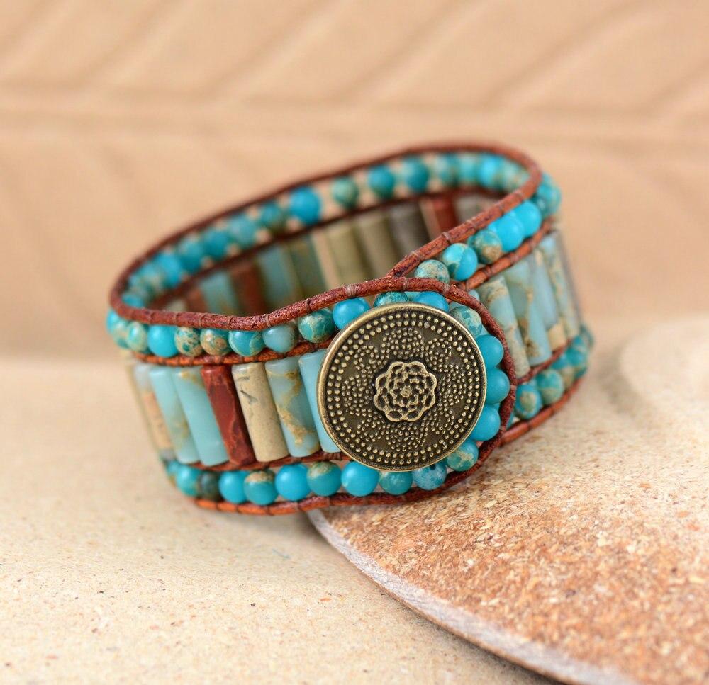 Boho bracelet unique natural stone vintage leather wrap for Unique handmade jewelry wholesale