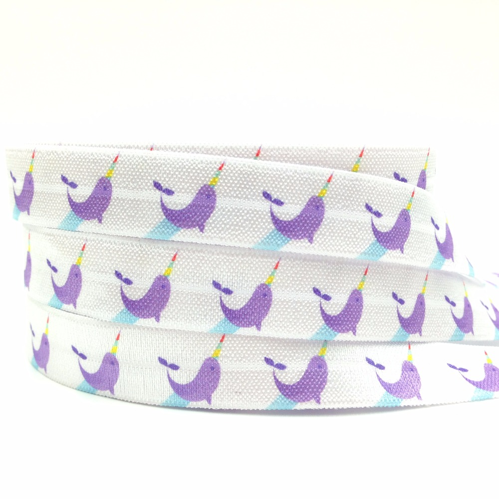 New Arrived 5/8 Narwhal Print Fold Over Elastic 10yards/lot White FOE Elastic Ribbon Webbing for DIY Head wear Hair Accessories ...