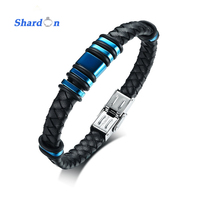 SHARDON 21.5cm Stainless Steel Genuine Leather Blue Accessory Bracelet Birthday Gifts for Man