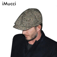 2015 Fashion Herringbone Tweed Gatsby Newsboy Cap Men Wool Ivy Hat Golf Driving Flat Cabbie Flat