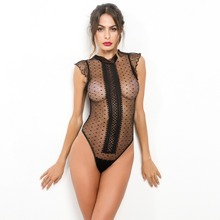ADYABY Sexy See-through Black Lace Mesh Transparent Lady Bodysuits Night Club