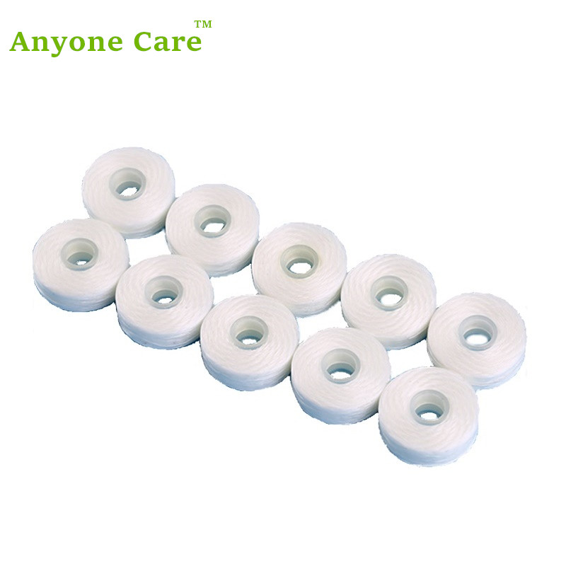 10Rolls Europe quality dental flosser built-in spool Wax Mint flavored replacement flat wire dental floss
