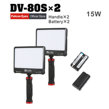 FalconEyes 2XLot 15W Portable Super Slim LED Fill LIGHT 80pcs LEDs with Handheld Holder and Battery Empty Case DV-80SL Kit цена