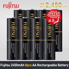 Fujitsu 2018 лучшее качество 8 шт/2 упаковки сделано в Японии 2450 mAh AA Аккумуляторная батарея с низким саморазрядом 1,2 V NiMH батареи AA