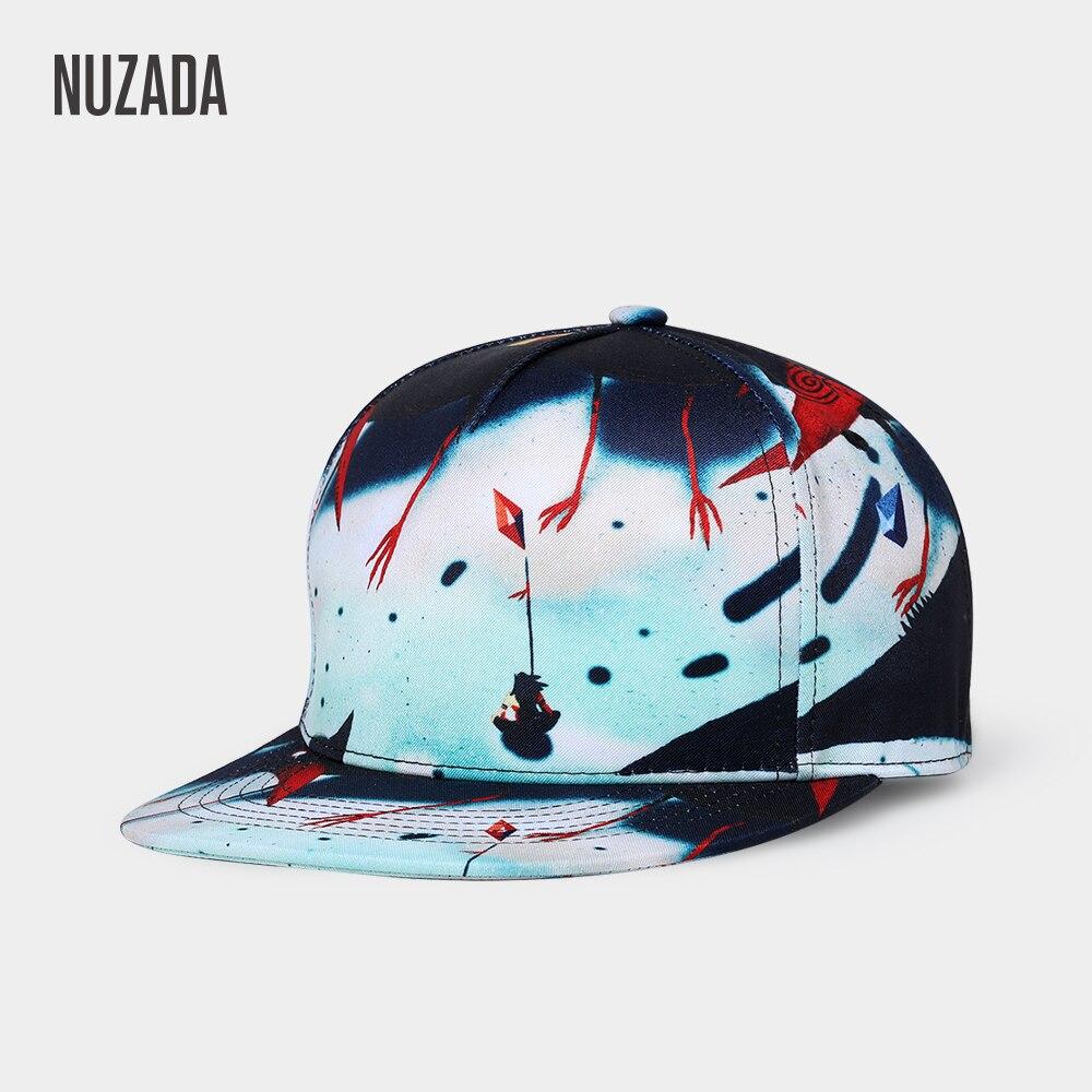 NUZADA Brand Exclusive Design 3D Printing Hip Hop Cap For Men Women Neutral Couple Original Punk Art Pattern High Quality Caps